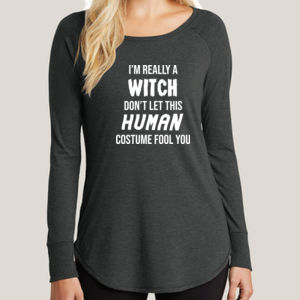 Really a Witch - Ladies Long Sleeve Tri Blend T Thumbnail