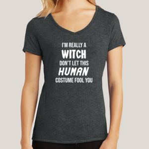 Really a Witch - Ladies Tri-Blend V-Neck T Thumbnail