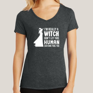 Really a Witch 2 - Ladies Tri-Blend V-Neck T Thumbnail